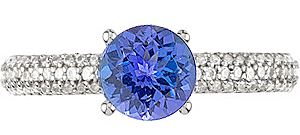 Deep Intense Colored 6.50mm Tanzanite 1 CARAT GEM set in Diamond Gold Mounting for SALE