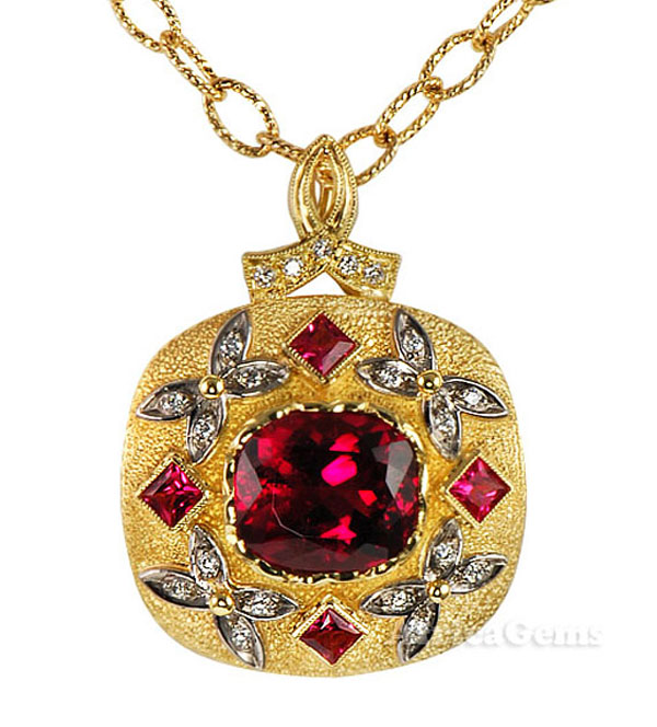 Deep Intense Large GEM Red Rubellite Tourmaline Set w/ Princess Cut Spinels & Diamond Butterflies by Yuri - SOLD