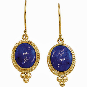 Deep Royal Blue Genuine Cabochon 10x8mm Lapis Wire Earrings in 14 karat Yellow Gold for SALE