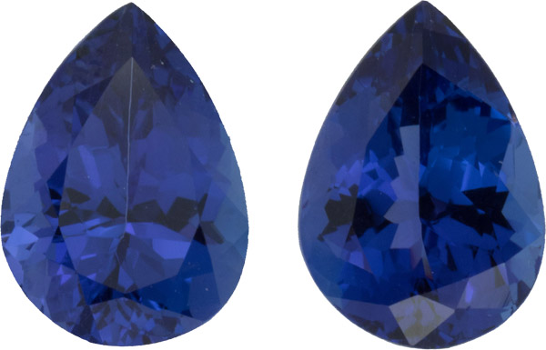 Deep Vivid Color Tanzanite Pair, Superb German Cuts, 13.4 x 9.8 mm, 11.46 carats
