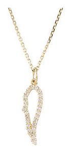 Delicate and Beautiful Angel's Wing .13ct Diamond Outline Pendant - Choose White or Yellow Gold - FREE Chain Included