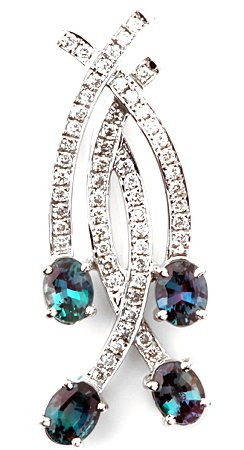 Delicate Angel Wings Brazilian Alexandrite Pendant With Channel Set Diamond Design in 14k White Gold - 1.29 carats, 4.83 x 3.69 mm
