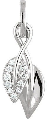 Delicate Twisted Leaf Pendant in 14k White Gold for SALE - .06ct Pave Diamond Accents