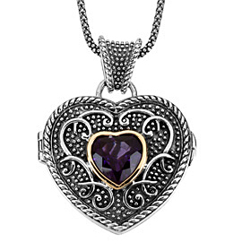 Delightful 3.3ct 10mm Amethyst Heart Locket Necklace set in 14 karat Yellow Gold & Sterling Silver - SOLD