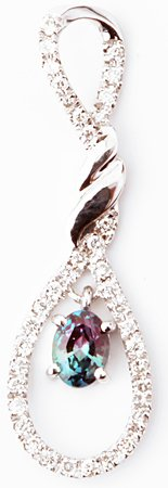 Delightful Brazilian Alexandrite Twisted Rope Design Pendant With Diamond Decoration in 14k White Gold - 0.31 carats, 4.92 x 3.77 mm