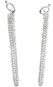 Detailed 2.85 carat total weight 1.10 mm Diamond Inside Outside Hoop Earrings expertly set in 14 karat White Gold for SALE