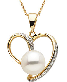 Detailed 8.5mm Freshwater Pearl & Diamond Pendant in 14 karat Yellow Gold with FREE Gold Chain - SOLD