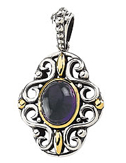Detailed Amethyst Cabochon Pendant set in 14 karat Yellow Gold & Sterling Silver - SOLD
