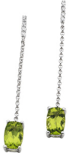 Detailed Cushion Cut 2.3ct 8x5mm Peridot & Diamond Dangling Post Earrings set in 14 karat White Gold for SALE
