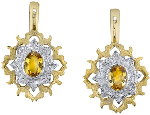 Detailed Hand Carved 2-Tone 18kt Yellow Gold Yellow Sapphire (1.88 ctw) Earrings