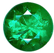Diamond Cut Round Genuine Emerald in Grade AA