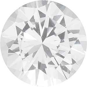 Diamond Cut Round Genuine White Sapphire in Grade AAA