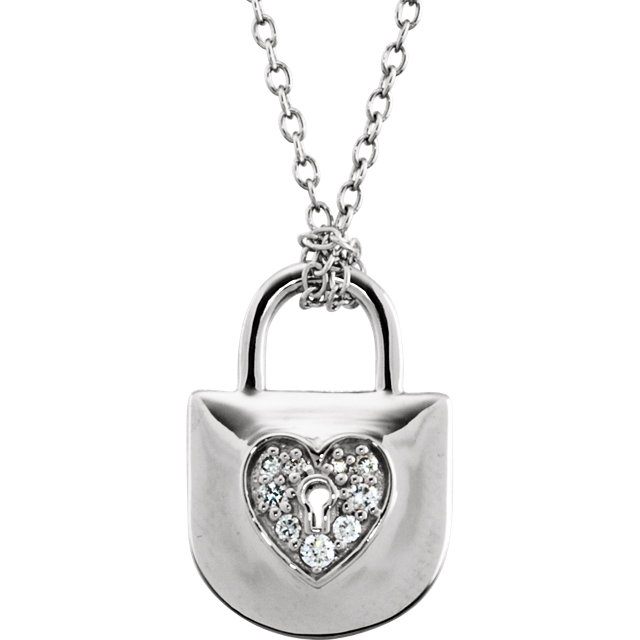 Must See Sterling Silver 0.10 Carat Total Weight Diamond Heart Lock 18