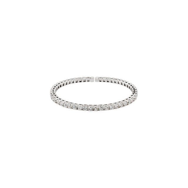 Striking 14 Karat White Gold 3 1/3 Carat Total Weight Round Genuine Diamond Bangle Bracelet