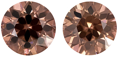Diamond Looking Brown Zircon Well Matched Pair, 9.5 mm, Rich Rosey Copper, Round Cut, 8.92 carats