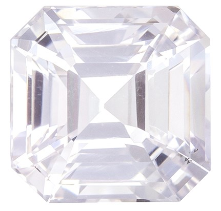 Must See  White Sapphire Gemstone, 2.42 carats, Emerald Shape, 7 x 6.9 mm, Low Price