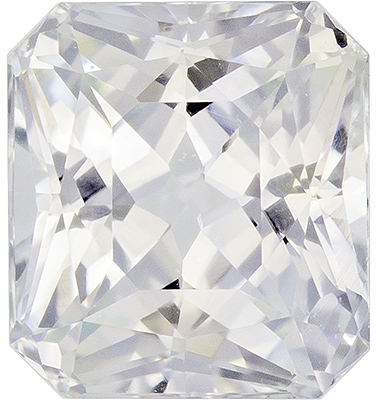 Diamond Looking White Sapphire Loose Gem in Radiant Cut, Pure Colorless White, 6.4 x 5.8 mm, 1.61 carats