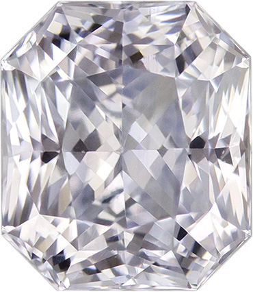 Diamond Looking White Sapphire Natural Gem In Radiant Cut, Very Colorless, 7.2 x 6.2 mm, 2.12 carats