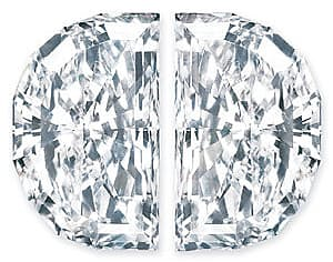 Quality Diamond Pair, Half Moon, G-H Color VS Clarity, 4.50 x 2.70 mm in Size, 0.45 Carats