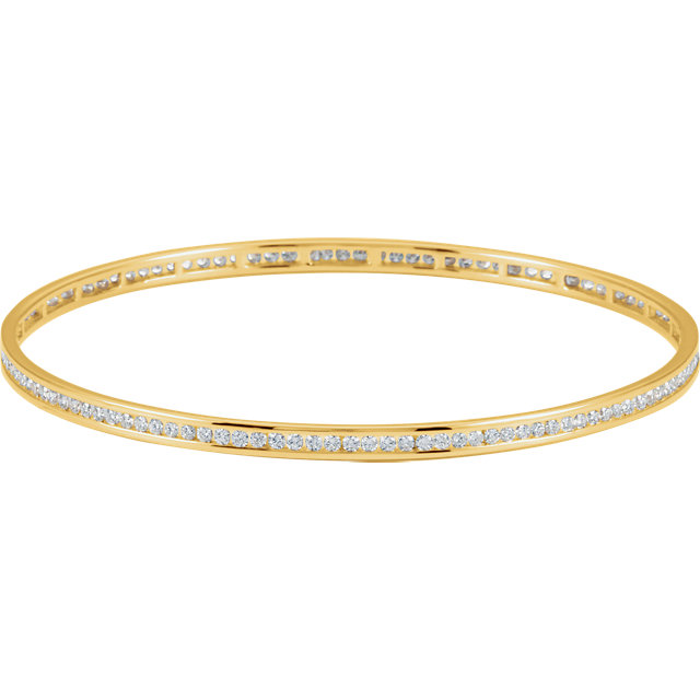 Classic Round Genuine Diamond Stackable Bangle Bracelet