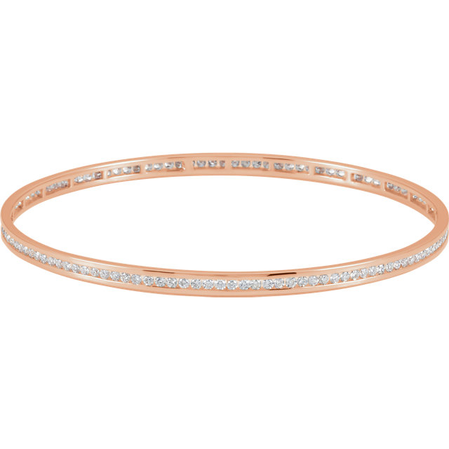 Magnificent Round Genuine Diamond Stackable Bangle Bracelet