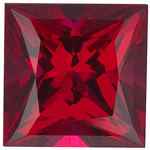 Discount Chatham Created Ruby Gemstone, Princess Shape, Grade GEM, 5.00 mm in Size, 0.79 Carats