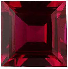 Discount Imitation Ruby Stone, Square Shape, 2.00 mm in Size