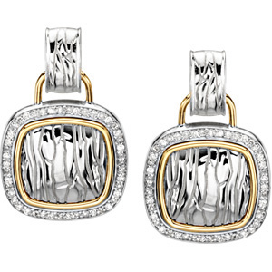 Discount Price! - Exclusive 1/2 ct tw Diamond Earrings expertly set in Sterling Silver and 14 karat Yellow Gold - 1.00 mm stones