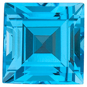 Discount Swiss Blue Topaz Stone, Step Shape, Grade AAA, 8.00 mm in Size, 3.25 Carats