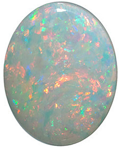 Discount White Fire Opal Gemstone, Oval Shape Cabochon, Grade GEM, 10.00 x 8.00 mm in Size, 1.54 carats