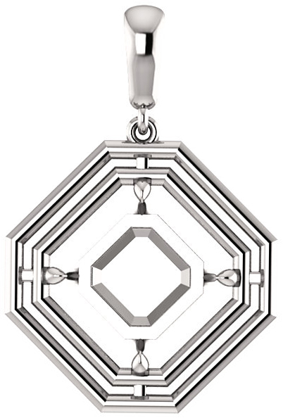 Double Framed Dangle Soiltaire Pendant Mounting for Asscher Gemstone Size 5mm to 10mm