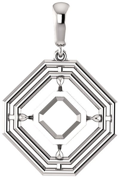 Double Framed Dangle Soiltaire Pendant Mounting for Asscher Centergem Sized 5.00 mm to 10.00 mm - Customize Metal, Accents or Gem Type