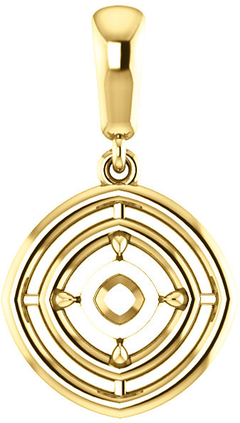 Double Framed Dangle Soiltaire Pendant Mounting for Cushion Centergem Sized 5.00 mm to 15.00 mm - Customize Metal, Accents or Gem Type