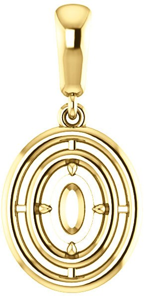 Double Framed Dangle Soiltaire Pendant Mounting for Oval Centergem Sized 6.00 x 4.00 mm to 16.00 x 12.00 mm - Customize Metal, Accents or Gem Type