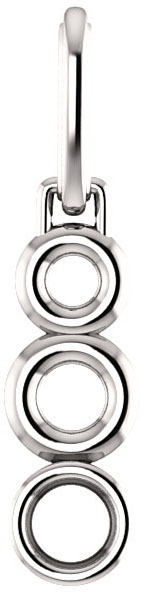 Double Open Circle Decorated Bezel Set Pendant Mounting for Round Centergem Sized 4.10 mm to 15.00 mm - Customize Metal, Accents or Gem Type