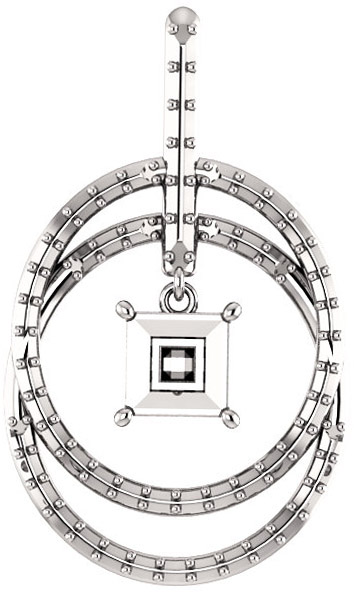 Double Row Circle Pendant Mounting for Square Shape Centergem Sized 5.00 mm to 10.00 mm - Customize Metal, Accents or Gem Type