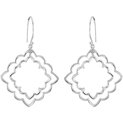 Double Scalloped Square Style Wire Back Sterling Silver Diamond Accented Fashion Earrings for SALE- .125 cts, 1.50 mm stones