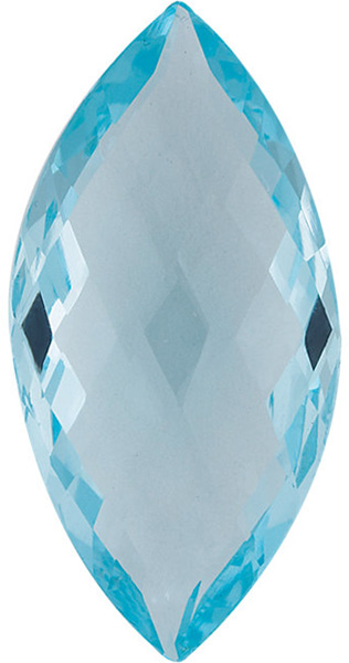 Double Sided Checkerboard Genuine Sky Blue Topaz in Grade AAA