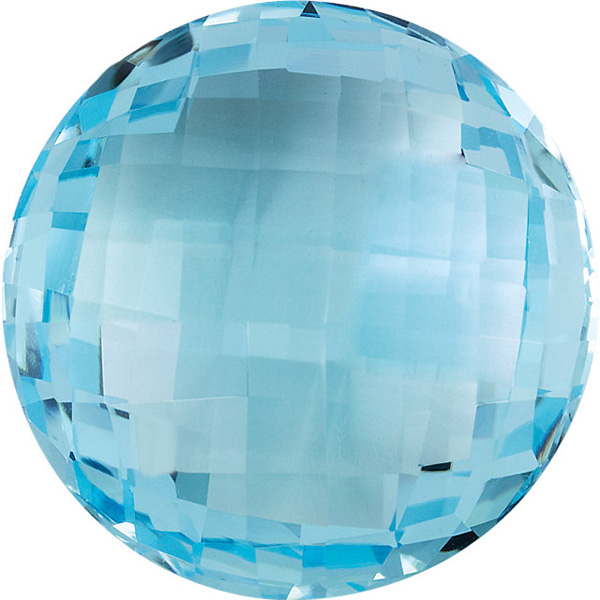 Faceted Sky Blue Topaz Stone, Double Sided Checkerboard Round, Sized 16.00 mm, 16.58 Carats