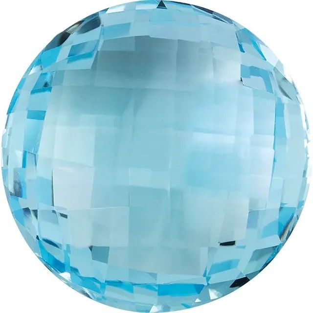 Double Sided Checkerboard Round Genuine Sky Blue Topaz in Grade AAA