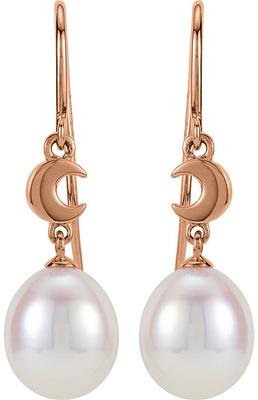 Dreamy 14k Rose Gold Wire Back 6.5mm Pearl Dangle Earrings With Moon Design for SALE