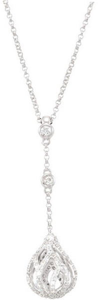 Drop Dangle 14 Karat White Gold 3/4 Carat Total Weight Diamond Openwork Chain 18