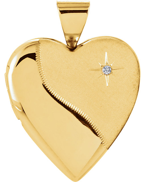 Dual Textured 14k Yellow Gold Heart Locket With .01ct 1.30mm Diamond Accents for SALE - FREE Chain