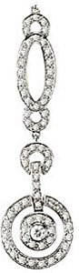 Elaborate and Luxurious 1ct Diamond Drop Necklace in 14k White Gold