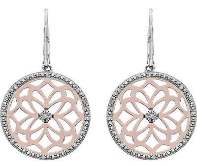 Elaborate Circle Medallion Leverback Dangle Earrings With Diamond - Rose Plated Silver - SOLD