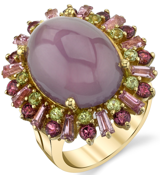 Elaborate Hand Crafted Purple Chalcedony Ring In 18kt Yellow Gold - Pink Tourmaline, Peridot & Garnet Accents