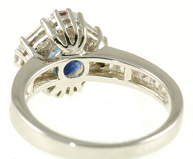 Elegant 1.22cr 6.5mm Round Blue Ceylon Sapphire Ring - Channel and Prong Set Diamond Accents