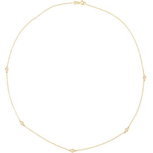 Elegant 1/4ct Diamond Station Necklace - Choose Metal Type and Length