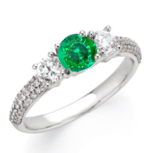 Elegant 1 carat 6mm Emerald Gemstone Engagement Ring With Diamond Side Gems and Diamond Accents on Band