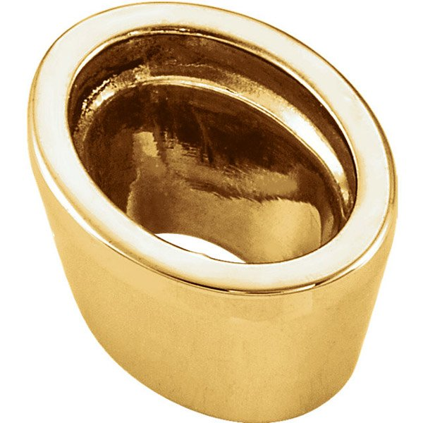 Elegant 14kt Gold Tall Tapered Bezel Setting for Oval Gemstone Sized 5.00 x 3.00 mm to 12.00 x 10.00 mm